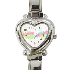 Abstract Color Pattern Colorful Heart Italian Charm Watch by Onesevenart