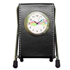 Abstract Color Pattern Colorful Pen Holder Desk Clocks by Onesevenart