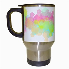 Abstract Color Pattern Colorful Travel Mugs (white) by Onesevenart