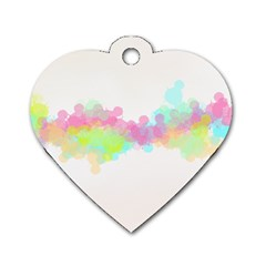 Abstract Color Pattern Colorful Dog Tag Heart (two Sides) by Onesevenart