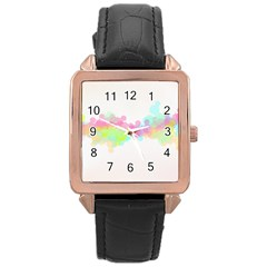 Abstract Color Pattern Colorful Rose Gold Leather Watch