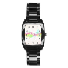 Abstract Color Pattern Colorful Stainless Steel Barrel Watch by Onesevenart