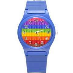 Abstract Pattern Background Round Plastic Sport Watch (s) by Onesevenart