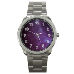 Abstract Purple Pattern Background Sport Metal Watch by Onesevenart