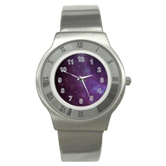 Abstract Purple Pattern Background Stainless Steel Watch by Onesevenart