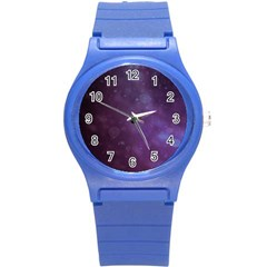 Abstract Purple Pattern Background Round Plastic Sport Watch (s) by Onesevenart