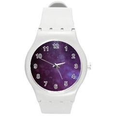 Abstract Purple Pattern Background Round Plastic Sport Watch (m) by Onesevenart
