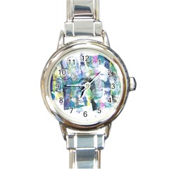 Background Color Circle Pattern Round Italian Charm Watch by Onesevenart