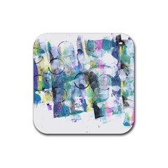 Background Color Circle Pattern Rubber Square Coaster (4 Pack)  by Onesevenart