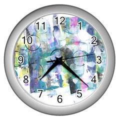 Background Color Circle Pattern Wall Clocks (silver)  by Onesevenart