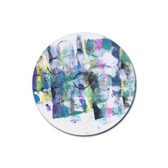 Background Color Circle Pattern Rubber Coaster (round)  by Onesevenart