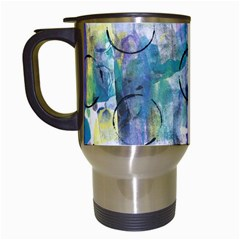 Background Color Circle Pattern Travel Mugs (white) by Onesevenart