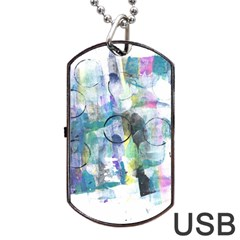 Background Color Circle Pattern Dog Tag Usb Flash (one Side) by Onesevenart