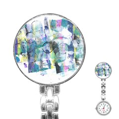 Background Color Circle Pattern Stainless Steel Nurses Watch by Onesevenart