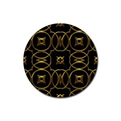 Black And Gold Pattern Elegant Geometric Design Rubber Coaster (round)  by yoursparklingshop