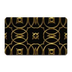 Black And Gold Pattern Elegant Geometric Design Magnet (rectangular) by yoursparklingshop