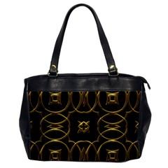 Black And Gold Pattern Elegant Geometric Design Office Handbags by yoursparklingshop