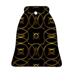Black And Gold Pattern Elegant Geometric Design Bell Ornament (two Sides) by yoursparklingshop