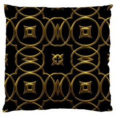 Black And Gold Pattern Elegant Geometric Design Large Flano Cushion Case (two Sides) by yoursparklingshop