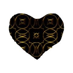 Black And Gold Pattern Elegant Geometric Design Standard 16  Premium Flano Heart Shape Cushions by yoursparklingshop