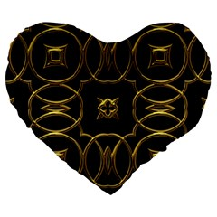 Black And Gold Pattern Elegant Geometric Design Large 19  Premium Flano Heart Shape Cushions by yoursparklingshop
