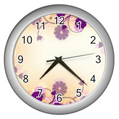 Background Floral Background Wall Clocks (silver)  by Onesevenart