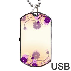 Background Floral Background Dog Tag Usb Flash (two Sides) by Onesevenart
