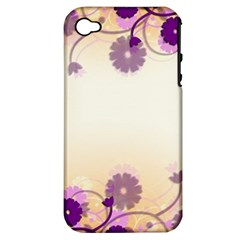 Background Floral Background Apple Iphone 4/4s Hardshell Case (pc+silicone) by Onesevenart