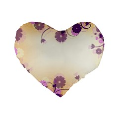 Background Floral Background Standard 16  Premium Flano Heart Shape Cushions by Onesevenart