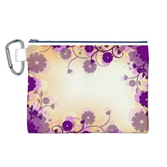 Background Floral Background Canvas Cosmetic Bag (l) by Onesevenart