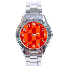 Background Texture Pattern Colorful Stainless Steel Analogue Watch by Onesevenart