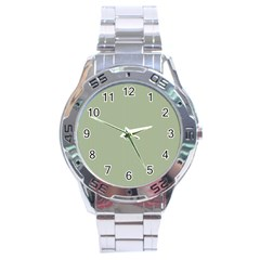 Background Pattern Green Stainless Steel Analogue Watch by Onesevenart