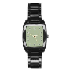 Background Pattern Green Stainless Steel Barrel Watch by Onesevenart