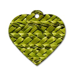 Basket Woven Braid Wicker Dog Tag Heart (two Sides) by Onesevenart
