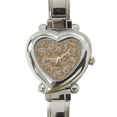 Camouflage Tarn Texture Pattern Heart Italian Charm Watch by Onesevenart