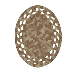 Camouflage Tarn Texture Pattern Oval Filigree Ornament (two Sides) by Onesevenart