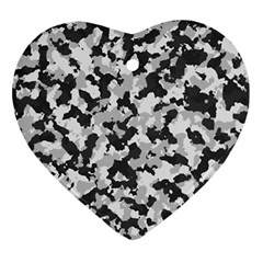 Camouflage Tarn Texture Pattern Heart Ornament (two Sides) by Onesevenart
