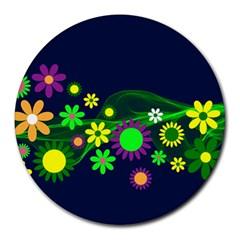 Flower Power Flowers Ornament Round Mousepads by Onesevenart
