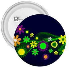 Flower Power Flowers Ornament 3  Buttons by Onesevenart