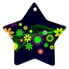 Flower Power Flowers Ornament Ornament (star) by Onesevenart