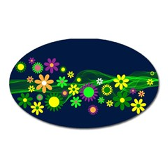 Flower Power Flowers Ornament Oval Magnet by Onesevenart