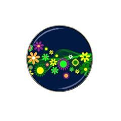 Flower Power Flowers Ornament Hat Clip Ball Marker (4 Pack) by Onesevenart