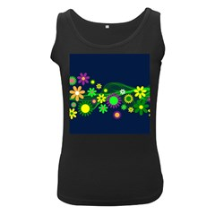 Flower Power Flowers Ornament Women s Black Tank Top by Onesevenart