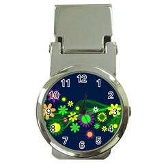 Flower Power Flowers Ornament Money Clip Watches by Onesevenart