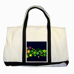 Flower Power Flowers Ornament Two Tone Tote Bag by Onesevenart