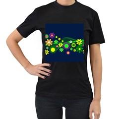 Flower Power Flowers Ornament Women s T Shirt (black) by Onesevenart