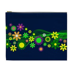 Flower Power Flowers Ornament Cosmetic Bag (xl) by Onesevenart