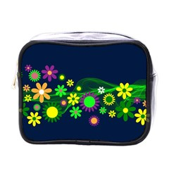 Flower Power Flowers Ornament Mini Toiletries Bags by Onesevenart