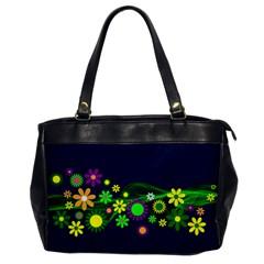 Flower Power Flowers Ornament Office Handbags by Onesevenart