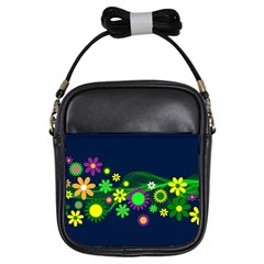 Flower Power Flowers Ornament Girls Sling Bags by Onesevenart
